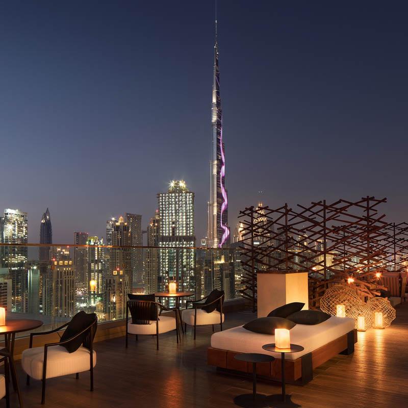 Roof bar with Dubai view